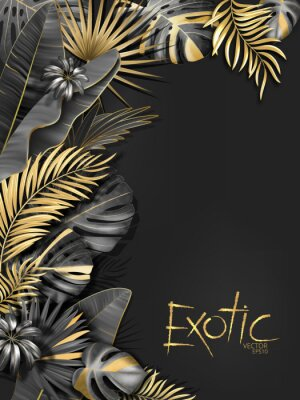 Naklejka Vector exotical background with black and gold tropical leaves on dark gray background. Luxury exotic botanical design for spa, perfume,cosmetics, aroma, beauty salon etc.