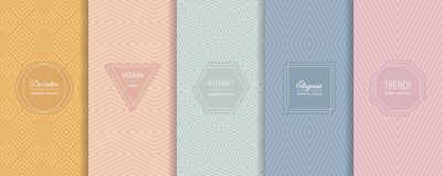 Naklejka Vector geometric seamless patterns. Set of stylish pastel backgrounds with elegant minimal labels. Abstract modern line ornament textures. Trendy nude color palette. Design for print, package, decor