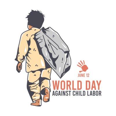 Naklejka vector graphic of world day against child labor good for day against child labor celebration. flat design. flyer design.flat illustration.