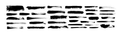 Naklejka Vector grungy paint brush strokes collection. Calligraphy straight smears, stamp, lines.