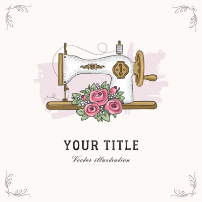 Vector hand drawn illustration of sewing machine and flowers