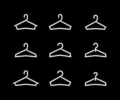 Vector hanger icon set isolated on black background