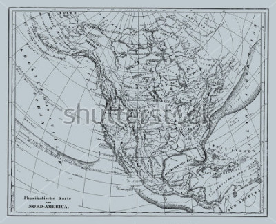Naklejka Vector Historical map of Nord America from atlas published in 1851. Other vector maps in my portfolio.