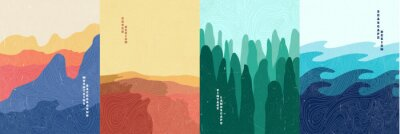 Naklejka Vector illustration landscape. Wood surface texture. Mountains, desert, forest, sea. Japanese wave pattern. Mountain background. Asian style. Design for poster, book cover, web template, brochure.