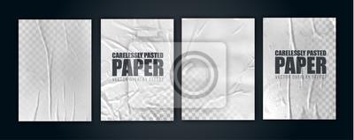 Naklejka vector illustration object. badly glued white paper. crumpled poster