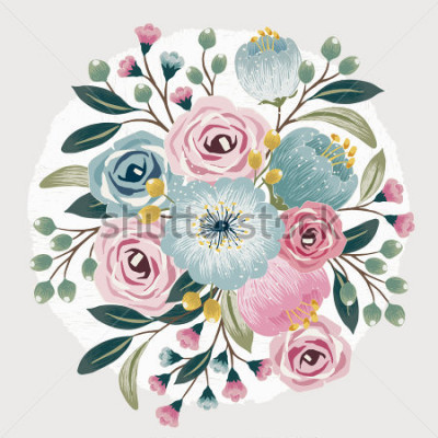 Naklejka Vector illustration of a beautiful floral bouquet with spring flowers for invitations and birthday cards