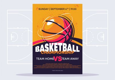 Naklejka Vector illustration of a poster template for a basketball tournament, an image of a basketball on a poster