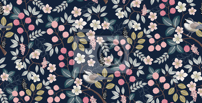 Naklejka  Vector illustration of a seamless floral pattern with cute birds in spring for Wedding, anniversary, birthday and party. Design for banner, poster, card, invitation and scrapbook