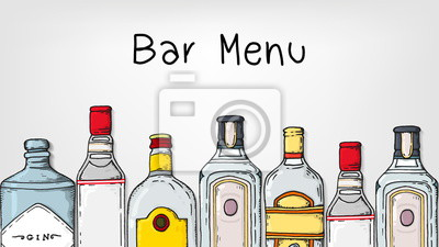 Naklejka Vector Illustration of Bar Menu Template with Gin Bottles Sketch Style