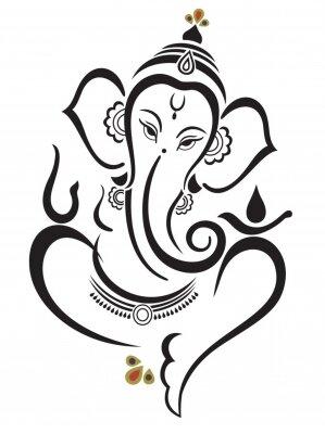 Naklejka Vector illustration of Beautiful God Ganesha. Lambodar