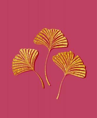 Naklejka Vector illustration of ginkgo biloba leaves. Background with golden leaves. Ginkgo branches for invitations