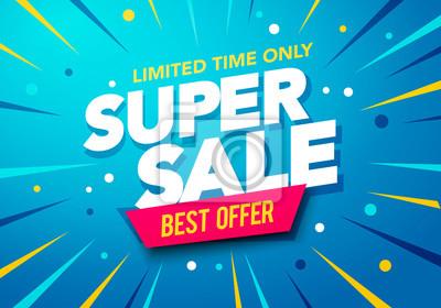 Naklejka Vector illustration Sale banner template design, Big sale special up to 80% off. Super Sale, end of season special offer banner.