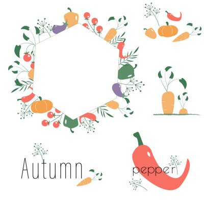 Vector illustration set autumn logo. Shape with space for text. Banner or flyer sale template, vector illustration.