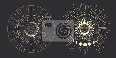Naklejka Vector illustration set of moon phases. Different stages of moonlight activity in vintage engraving style. Zodiac Signs