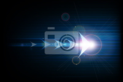 Naklejka Vector illustration streszczenie symbol strzałki do przodu i wygładzonymi liniami w ciemnym niebieskim tle koloru. Nowoczesna technologia cyfrowa i koncepcja innowacji. Streszczenie futurystyczny, bły