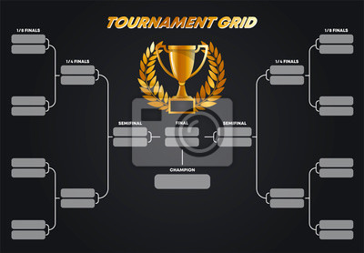 Naklejka Vector illustration, tournament grid, Cup system, gold Cup with gold wreath winner