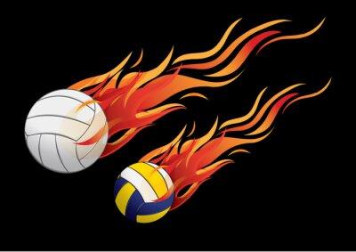 Naklejka vector illustration volleyball fire sport