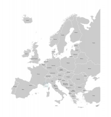 Naklejka Vector illustration with simplified map of Europe with blue contour of Monaco. Grey silhouettes, white outline of states' border