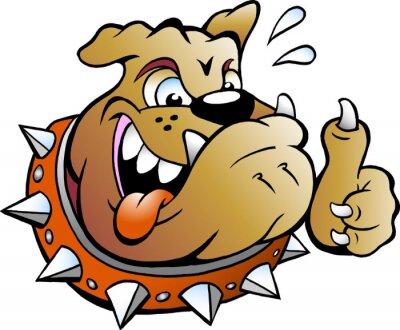 Naklejka Vector Ilustracja kreskówek wzbudzeniu Bull Dog podając kciuk w górę