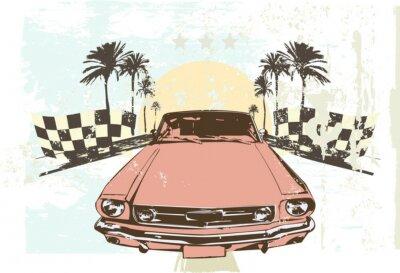 Naklejka Vector ilustracji - szybkie wyścigi samochodowe prędkość na tle grunge