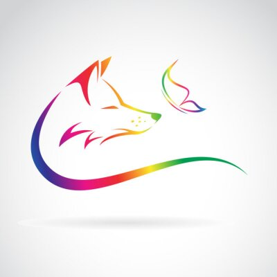 Naklejka Vector image of fox and butterfly on white background