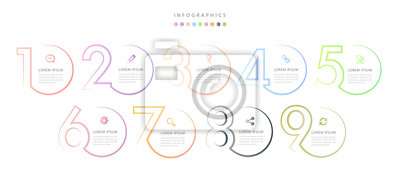 Naklejka Vector infographic design UI template colorful gradient 9 number labels and icons