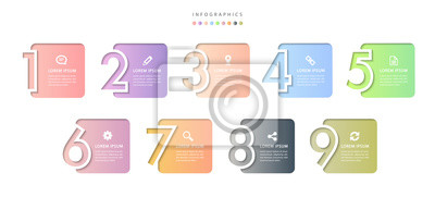 Naklejka Vector infographic design UI template colorful gradient 9 relief number labels and icons