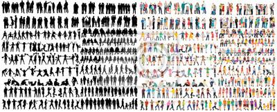 Naklejka vector isolated people silhouettes set