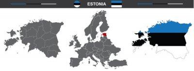 vector map set of Estonia isolated on white background