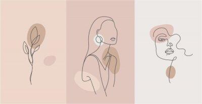 Naklejka Vector minimalist style portrait. Line flower, woman portrait. Hand drawn abstract feminine print. Use for social net stories, beauty logos, poster illustration, card, t-shirt print