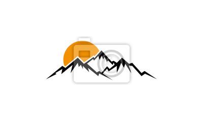 vector mountain and sun