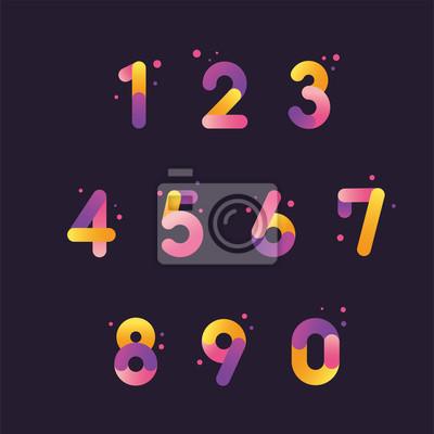 Naklejka Vector numbers set with gradient color, From zero to nine