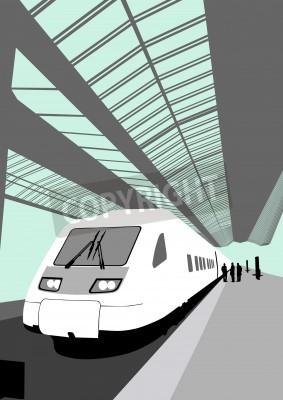Naklejka Vector obraz współczesnego szybkiego pociągu na stacji kolejowej