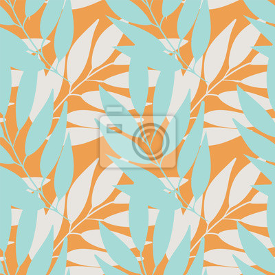 Naklejka Vector pastel branches with leaves seamless pattern repeat