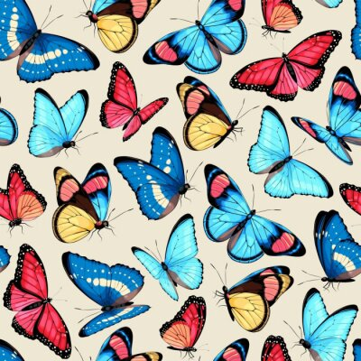 Naklejka Vector pattern with high detailed tropic butterfly