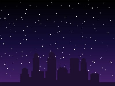 Naklejka Vector pixel night city background. Pixel art background. 8bit