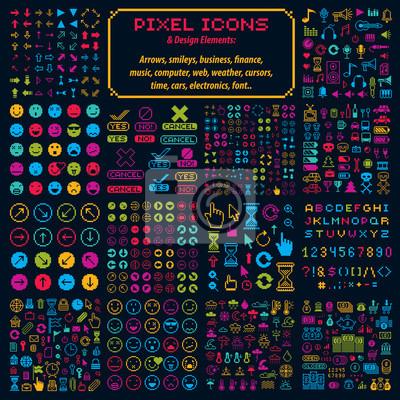 Naklejka Vector płaskie 8 bitowe ikony, zbiór prostych geometrycznych pikseli sy