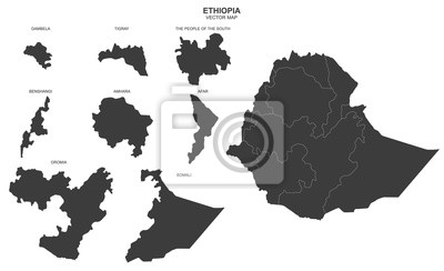 vector political map of Ethiopia on white background