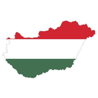 Vector political map of Hungary with flag isolated on white background