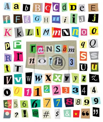 Vector Ransom Uwaga # 3 - Paper Cut litery, cyfry, symbole