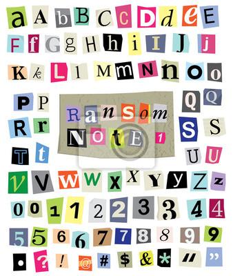 Vector Ransom Uwaga nr 1 - Wytnij listy papierowe, cyfry, symbole