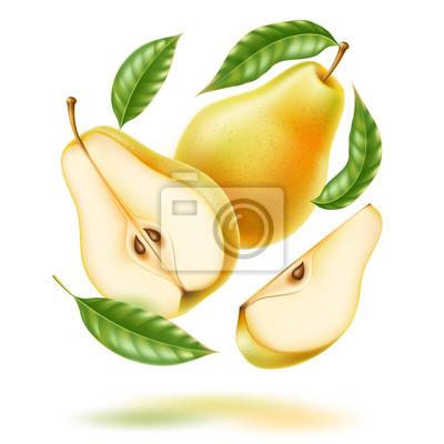 Naklejka Vector realistic fresh pear with leaf green fruit