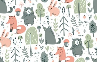 Naklejka Vector seamless pattern with hand drawn wild forest animals,