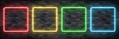 Naklejka Vector set of realistic isolated neon sign of colorful square frame for template and layout on the wall background.