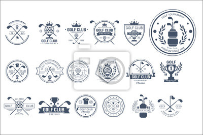 Naklejka Vector set of vintage logos for golf club. Individual sports game. Monochrome emblems with balls, golf clubs, trophies, ribbons and crowns
