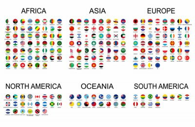 Naklejka Vector set official national flags of the world. Country round shape flags collection with detailed emblems.