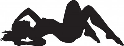 Naklejka Vector silhouette of an woman laying on the floor