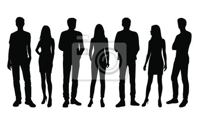 Naklejka Vector silhouettes of  men and a women, a group of standing business people, black color isolated on white background