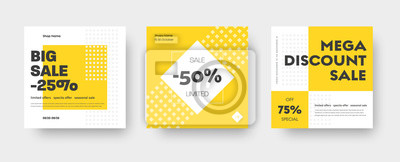 Naklejka Vector square web banner templates for big and mega sale with yellow square elements.