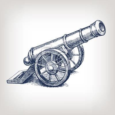 Vector starożytny grawerowanie rocznika cannon